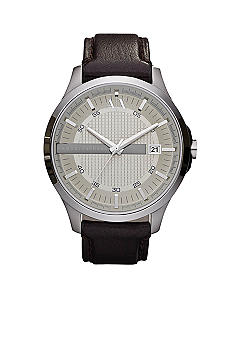 Armani Exchange AX Whitman Brown Leather Strap Watch