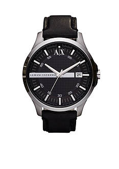 Armani Exchange AX Men's Round Stainless Steel with Black Leather Strap Hampton Watch