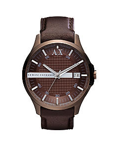 Armani Exchange AX Men's Hampton Brown Leather Watch