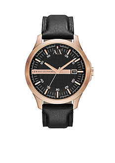 Armani Exchange AX Men's Black Leather and Rose Gold-Tone Stainless Steel Three Hand Hampton Watch