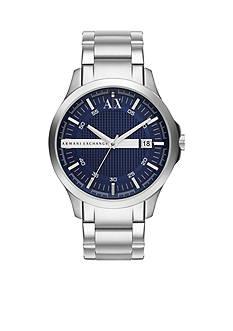 Armani Exchange AX Men's Silver-Tone Stainless Steel Three Hand Watch