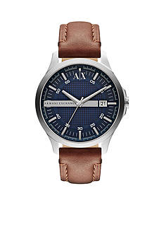 Armani Exchange AX Men's Brown Leather Three-Hand Watch