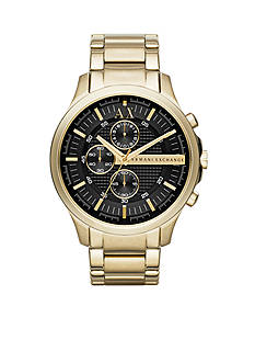 Armani Exchange AX Men's Gold-Tone Stainless Steel with Black Dial Chronograph Watch