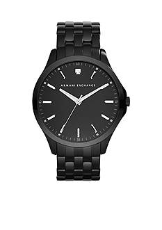 Armani Exchange AX Men's Black Stainless Steel Three Hand Genuine Diamond Watch