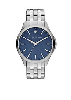 Armani Exchange AX Men's Three-Hand Stainless Steel Blue Dial Genuine Diamond Watch