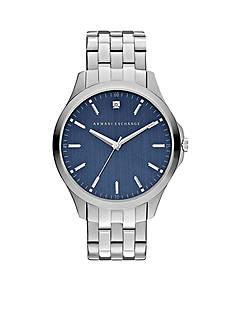 Armani Exchange AX Men's Three-Hand Stainless Steel Blue Dial Genuine Diamond Watch