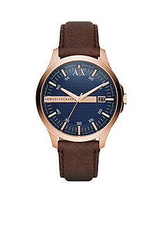 Armani Exchange AX Men's Brown Leather Three Hand Watch