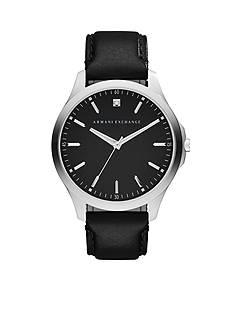 Armani Exchange AX Men's Hampton Three-Hand Black Leather Strap Watch