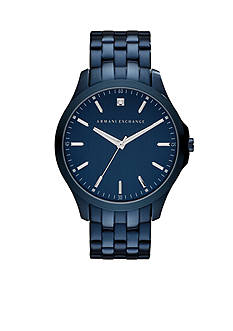 Armani Exchange AX Men's Blue IP Stainless Steel Three Hand Watch