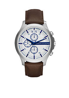 Armani Exchange AX Men's Brown Leather Chronograph Watch