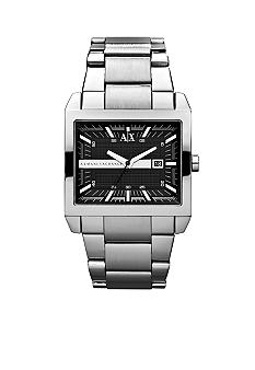 Armani Exchange AX Men's Silver-Tone Stainless Steel Three-Hand Watch