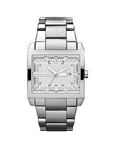 Armani Exchange AX Mens Silver-Tone Stainless Steel Three-Hand Watch