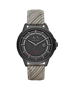 Armani Exchange AX Men's Three-Hand Gray Leather Watch