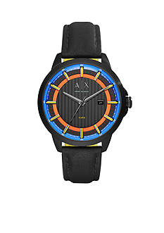 Armani Exchange AX Men's Three-Hand Black Leather Watch