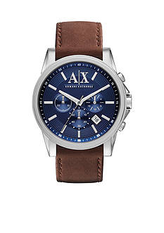 Armani Exchange AX Men's Brown Leather and Stainless Steel Chronograph Watch