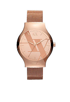 Armani Exchange AX Watch - Men's Sydney Rose Gold Tone Mesh Logo