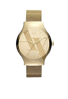 Armani Exchange AX Ladies Yellow Gold Tone Stainless Steel Mesh Logo Watch