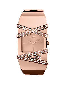 Armani Exchange AX Ladies Cancun Rose Gold Tone Glitz Logo Watch