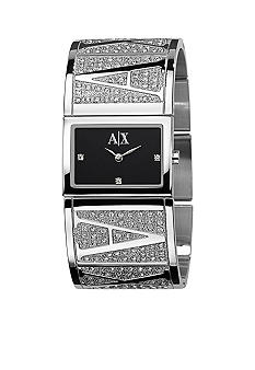 Armani Exchange AX Pave Detail Black Dial Bangle Watch