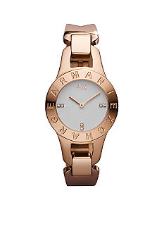 Armani Exchange AX Ladies Rose Gold  Half Bangle Watch