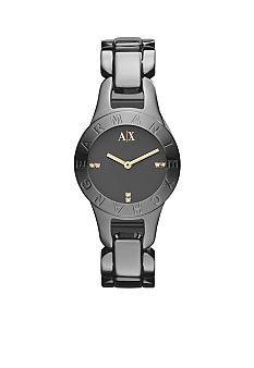 Armani Exchange AX Ladies Light Grey Stainless Steel Logo Pipa Watch