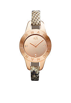 Armani Exchange AX Ladies Rose Gold Tone Stainless Steel and Python Print Leather Glitz Watch