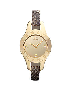 Armani Exchange AX Ladies Gold Tone and Stamped Python Strap Pipa Watch