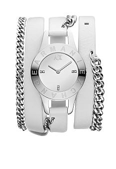 Armani Exchange AX Ladies Silver-Tone Stainless Steel and White Leather Three-Hand Watch