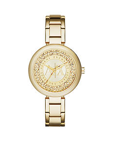 Armani Exchange AX Women's Gold-Tone Stainless Steel Three-Hand Glitz Watch