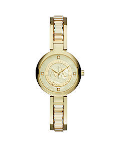 Armani Exchange AX Women's Gold-Tone Stainless Steel Glitz Watch