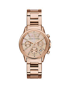 Armani Exchange AX Ladies Smart Rose Gold-Tone Stainless Steel Chronograph Glitz Watch