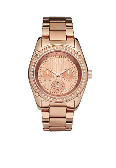 Armani Exchange AX Ladies Pave Rose Gold Tone Round Glitz Watch