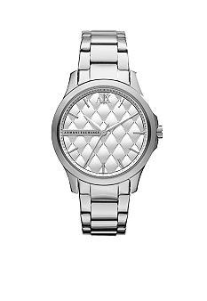 Armani Exchange AX Ladies Mid-Size Silver Tone Stainless Steel Watch