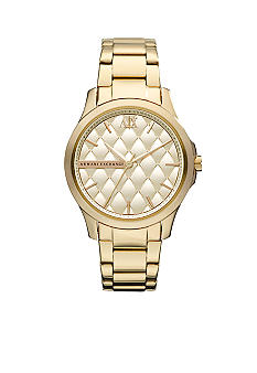 Armani Exchange AX Ladies Mid-Size Yellow Gold Tone Stainless Steel Watch