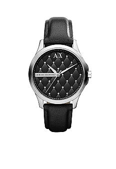 Armani Exchange AX Ladies Mid-Size Silver Tone Stainless Steel and Black Leather Watch