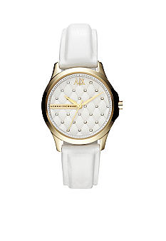 Armani Exchange AX Ladies Silver-Tone Stainless Steel and White Leather Three-Hand Glitz Watch
