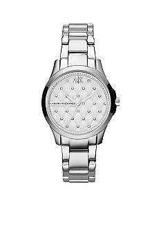 Armani Exchange AX Ladies Silver-Tone Stainless Steel Three-Hand Glitz Watch