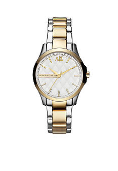Armani Exchange AX Ladies Silver-Tone and Gold-Tone Stainless Steel Three-Hand Watch