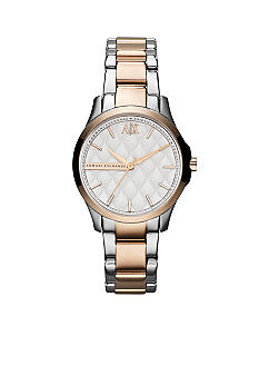 Armani Exchange AX Ladies Silver-Tone and Rose Gold-Tone Stainless Steel Three-Hand Watch