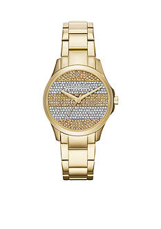 Armani Exchange AX Women's Three-Hand Gold-Tone Pave Stone Dial Watch