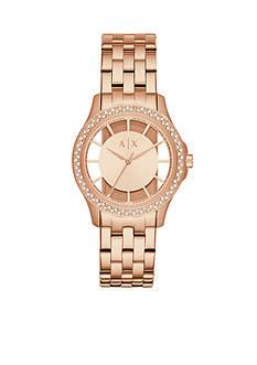 Armani Exchange AX Women's Rose Gold-Tone Three-Hand Watch
