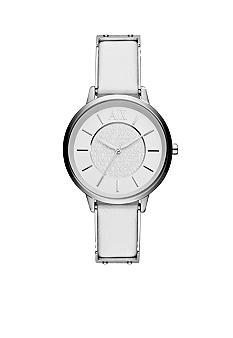 Armani Exchange AX Ladies White Leather and Silver-Tone Stainless Steel Three-Hand Watch