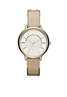 Armani Exchange AX Ladies Gold-Tone Stainless Steel and Beige Leather Three-Hand Watch