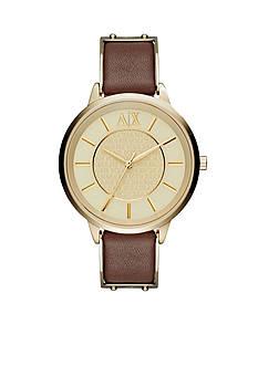 Armani Exchange AX Women's Brown Leather Three Hand Watch