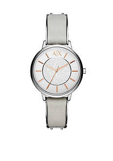 Armani Exchange AX Women's Gray Leather Strap Three Hand Watch