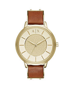 Armani Exchange AX Women's Gold-tone Olivia Three-Hand Leather Strap Watch