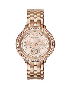 Armani Exchange AX Women's Rose-Gold Tone Stainless Steel Multi-Function Glitz Watch