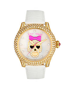 Betsey Johnson Gold Case Watch with Mother of Pearl Dial