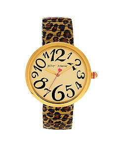 Betsey Johnson Brown Leopard Strap Watch