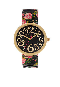 Betsey Johnson Watch with Gold Tone Case and Black Printed Rose Steel Expansion Bracelet